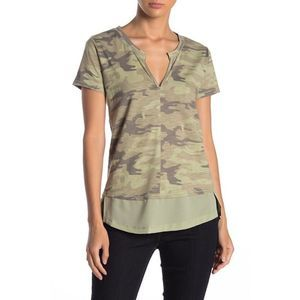 Sanctuary Camo Print Short Sleeve Top Size M